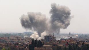 Les combats sont violents dans les environs de la capitale syrienne, comme ici dans la Ghouta, le 21 mai 2015.