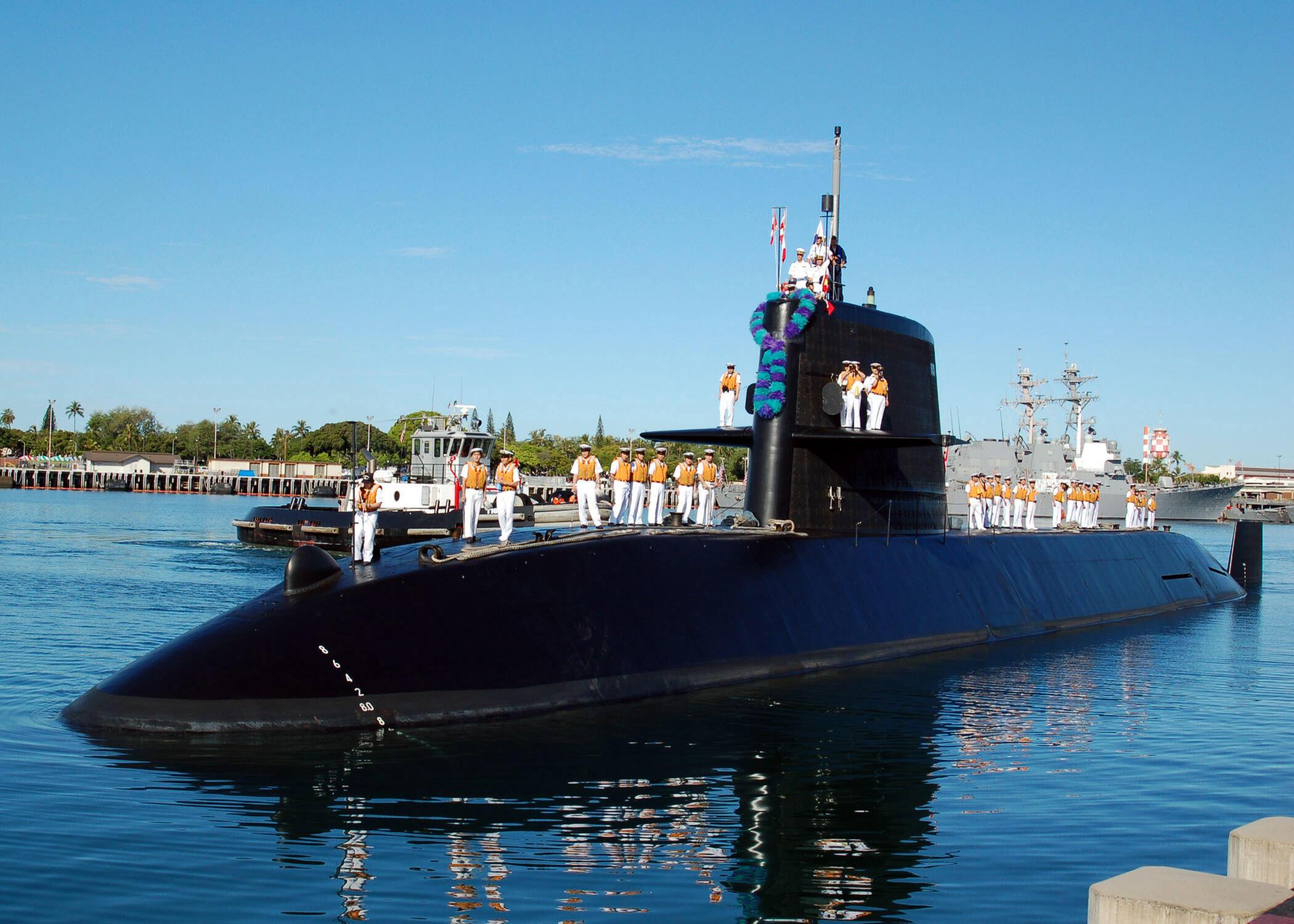 Chiếc tàu ngầm Nhật Bản Kuroshio ở cảng Pearl Harbor (Hawai - Mỹ). Ảnh tư liệu chụp ngày 25/06/2006.