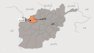 """موقعیت جغرافیایی ولایت """"بادغیس"""" بروی نقشه افغانستان"""