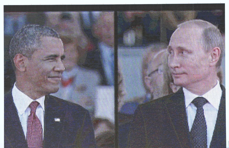 Um telão instalado na praia de Sword Beach mostrava os líderes chegando para as comemorações do Dia D na Normandia; na imagem, Obama e Putin.