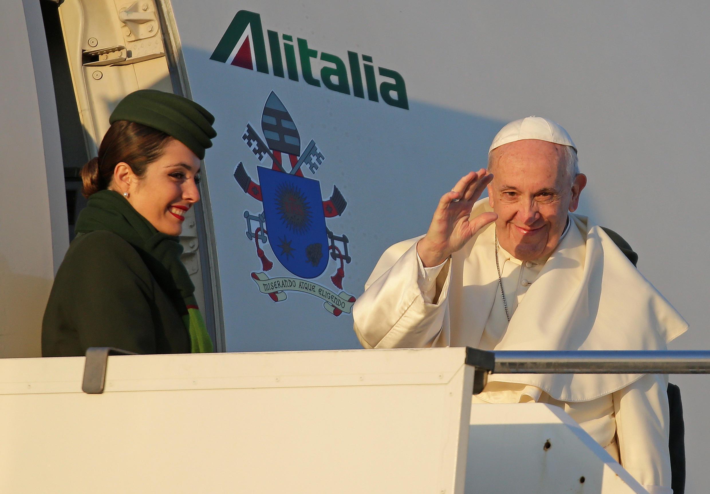 Đức Giáo Hoàng Phanxico tại sân bay quốc tế Fiumicino International Airport, Roma, Italy, ngày 15/01/2018.