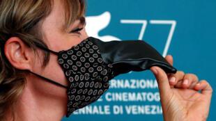 L'actrice Radha Mitchelle lors de la Mostra de Venise, le 10 septembre 2020.