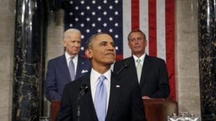 O presidente dos Estados Unidos, Barack Obama,  em discurso anual no Congresso americano, 28 de janeiro de 2014.