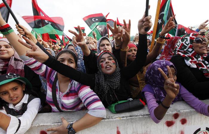 Libyan women celebrate the liberation of Libya