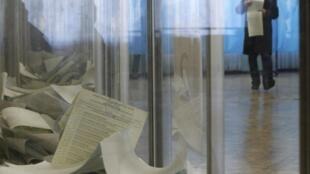 Un bureau de vote de Kiev, dimanche 26 octobre 2014.