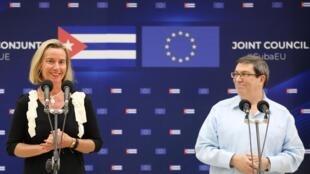 Lãnh đạo ngành ngoại giao châu Âu Federica Mogherini họp báo chung với ngoại trưởng Cuba Bruno Rodriguez tại La Habana ngày 09/09/2019.