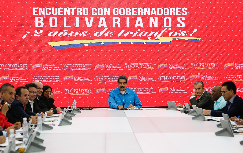 Le président vénézuélien Nicolas Maduro lors d'une rencontre avec les gouverneurs au palais de Miraflores, à Caracas, le 15 octobre 2019.
