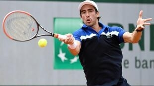Pablo Cuevas ante Quentin Halys, este 26 de mayo de 2016 en Roland Garros.