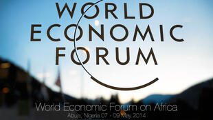 Logo du World Economic Forum à Abuja, Nigeria.