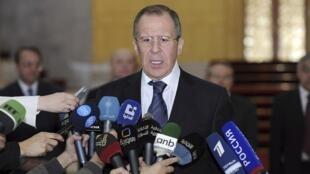 Sergei Lavrov, ministro das Relações Exteriores da Rússia, durante coletiva de imprensa em Damasco, nesta terça-feira.