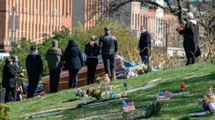 A funeral in the Green-Wood in Brooklyn à New York on April 11th.