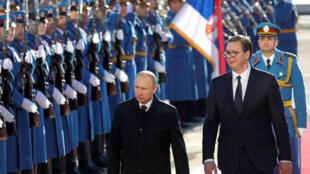 Президенты России и Сербии Владимир Путин и Александр Вучич в Белграде, 17 января 2018