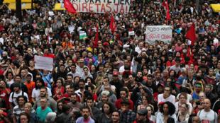 Une manifestation contre le président Michel Temer à Sao Paulo, au Brésil, le 4 Septembre 2016.