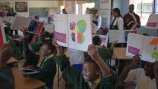 Les élèves de l'école primaire Molaetsa, à Soweto, participent à une classe d'art en utilisant les œuvres d'Henry Matisse le 20 Juin 2016.