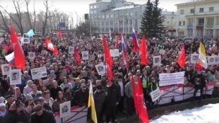 Протест с требованием прекратить строительство мусорного полигона в Шиесе, Архангельск, 7 апреля 2019