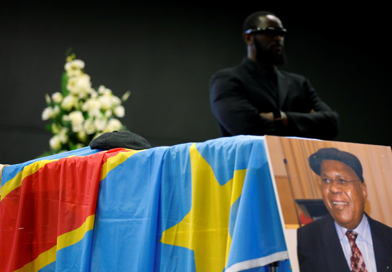 Le cercueil d'Etienne Tshisekedi lors d'un hommage à Bruxelles le 5 février 2017.