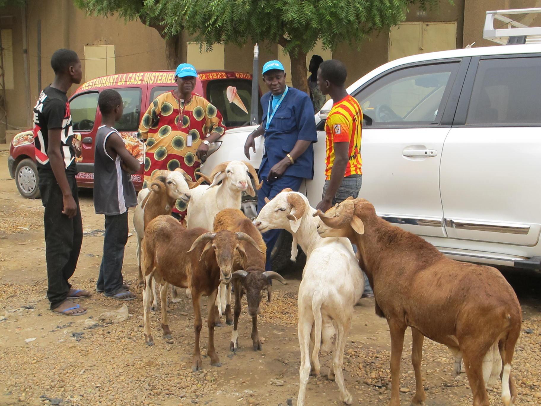 Une équipe de l'Unicef dans les rues de Gao, dans le nord du Mali.