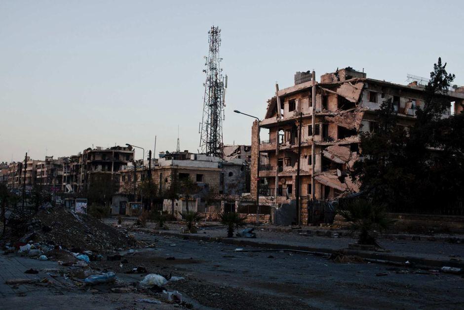 Jiji la Aleppo linavyoonekana baada ya machafuko ya miezi 23 nchini Syria baina Serikali na Upinzani