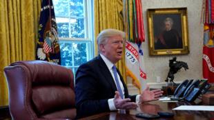 Donald Trump, président des États-Unis, s'exprime au cours d'une interview accordée à Reuters à la Maison Blanche à Washington, aux États-Unis, le 17 janvier 2018.