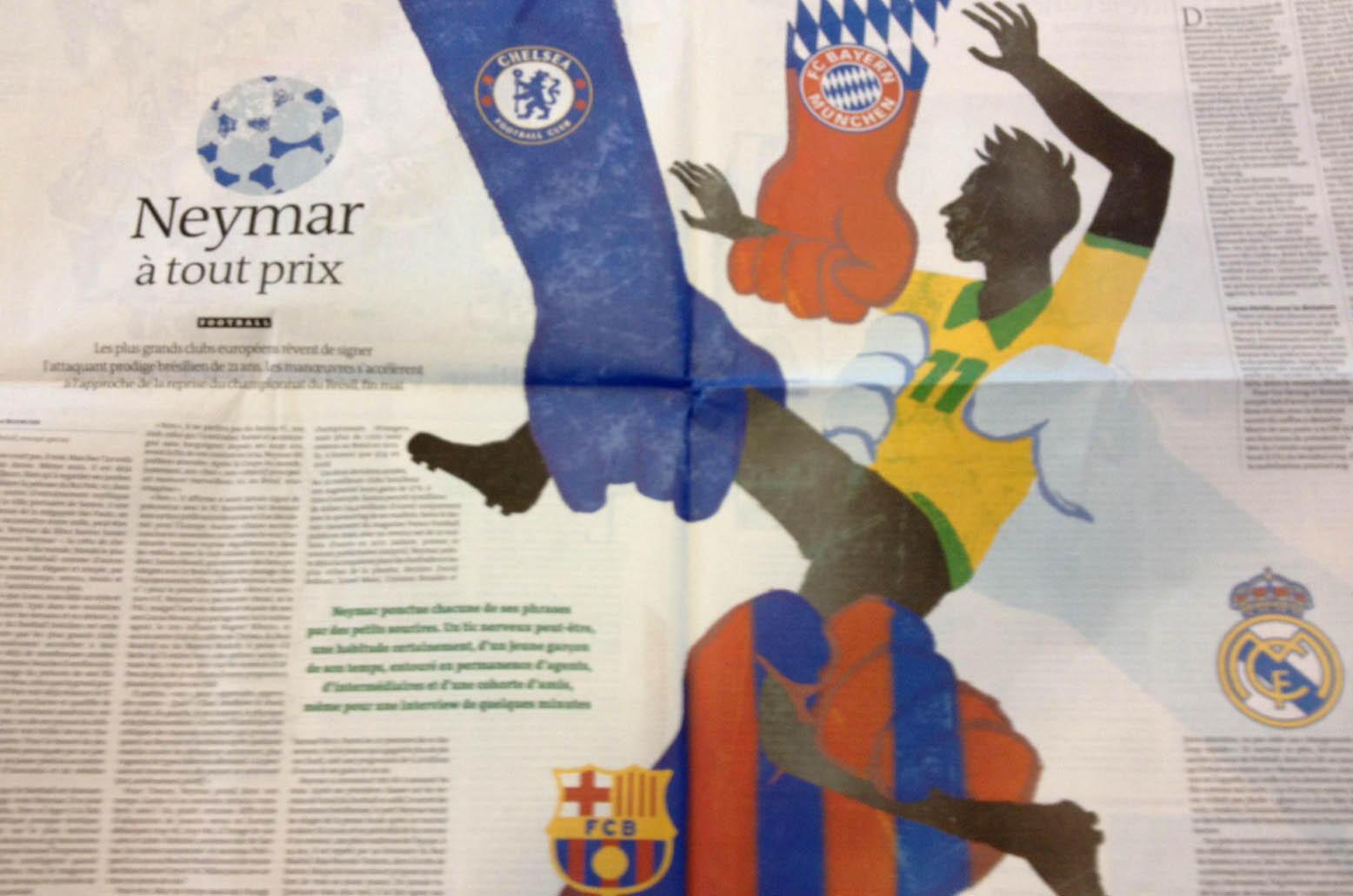 Ilustração do Le Monde mostra Neymar sendo disputado por grandes clubes europeus