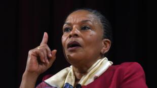 La désormais ex-ministre de la Justice française, Christiane Taubira, a donné une conférence à l'université de New York, le 29 janvier 2016.