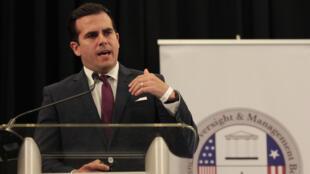 El gobernador de Puerto Rico, Ricardo Roselló, en el Centro de Convenciones de San Juan, el 31 de marzo de 2017.