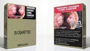 Vỏ bao thuốc lá trung tính, không logo, với các hình ảnh tác hại của thuốc lá, nhằm hạn chế việc hút thuốc. (REUTERS)