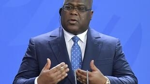DR Congo President Tshisekedi speaks during a visit to Berlin on 15 November 2019.