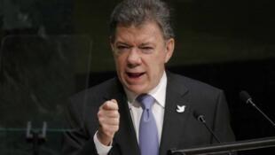 El presidente de Colombia, Juan Manuel Santos, durante su discurso en la Asamblea General de la ONU, el 29 de septiembre de 2015.
