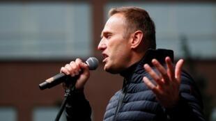 Alexeeï Navalny devant ses partisans le 29 septembre 2019 à Moscou, en Russie.