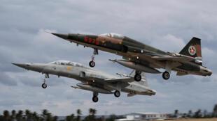 Chiến đấu cơ F-5 của Đài Loan xuất phát từ căn cư không quân tại Đài Đông (Taitung) tham gia tập trận ngày 30/01/2018.