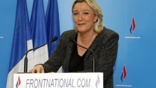 Марин Ле Пен после первого тура муниципальных выборов во Франции 23 марта 2014.