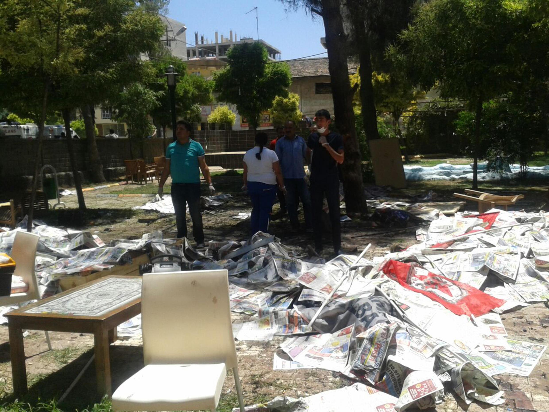 Le site du centre culturel de Suruç, ville proche de la frontière syrienne, peu après l'attentat ce lundi matin.