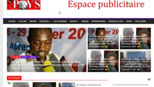 Capture d'écran de la page d'accueil du site du journal Le Pays.