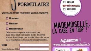 """Khuyến nghị của Phong trào bỏ chữ """"Cô"""" trong các văn bản hành chính. Theo trang http://www.madameoumadame.fr/"""