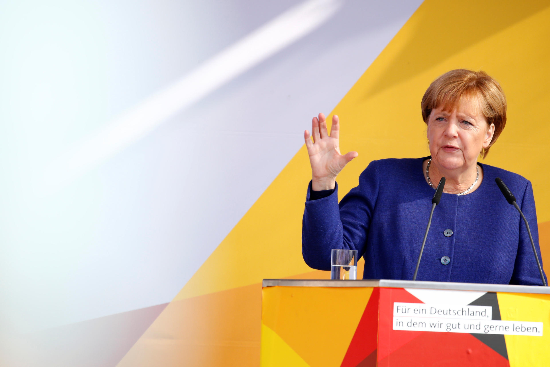 Angela Merkel durante comício uma semana antes da eleição legislativa.