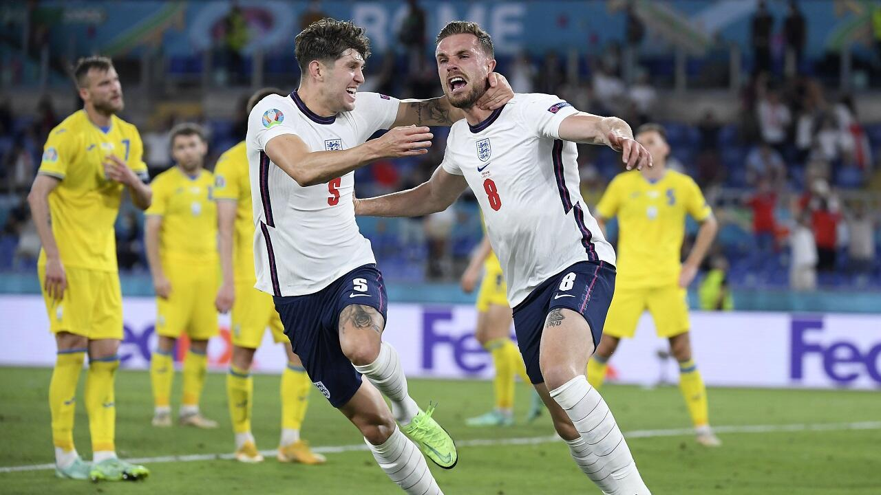 Сборные Англии и Украины в матче 1/4 финала чемпионата Европы 3 июля 2021.
