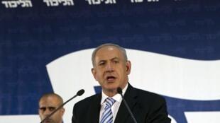 Benyamin Netanyahu, le Premier ministre d'Israël lors d'un discours devant les membres de son parti le Likoud à Tel Aviv, le 29 octobre 2012.