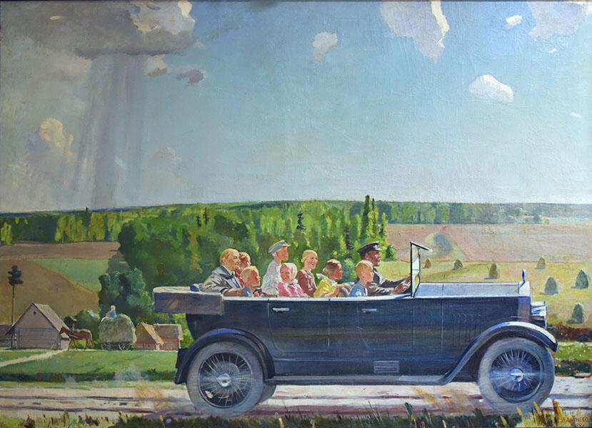 Александр Дейнека, «В.И. Ленин на прогулке с детьми». 1938 г.