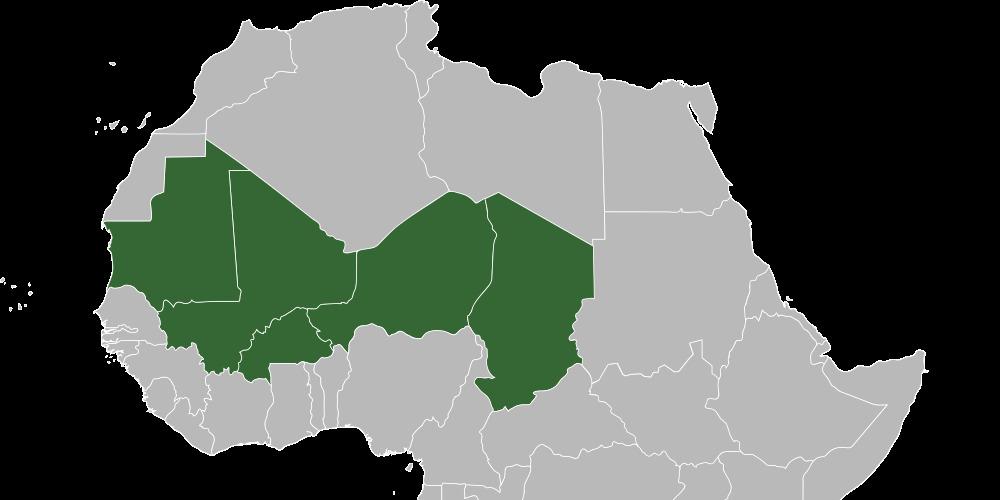 Les pays du G5 Sahel : Mauritanie, Mali, Niger, Burkina Faso et Tchad.