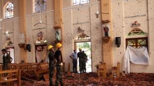 斯里蘭卡尼甘布的聖-塞巴斯蒂安天主教堂復活節遭恐襲2019年4月22日拍攝