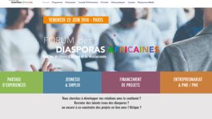 Capture d'écran de la page d'accueil du site lié au Forum des diasporas africaines.