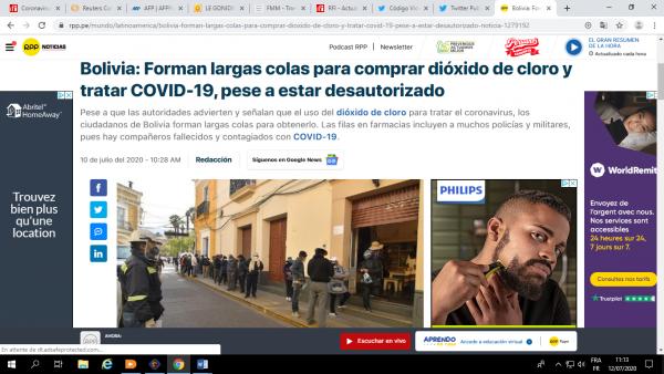 Article de RPP Noticias du 10 juillet 2020.
