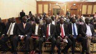 反对派领导人马查尔的代表埃塞首都亚的斯亚贝巴2014年1月4日。