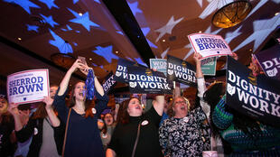 Ohio Democratic Party supporters cheer for United States Senator Sherrod Brown