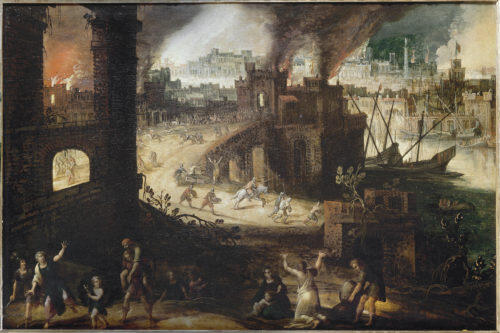 Питер Брейгель Младший. Горящая Троя. XVII век