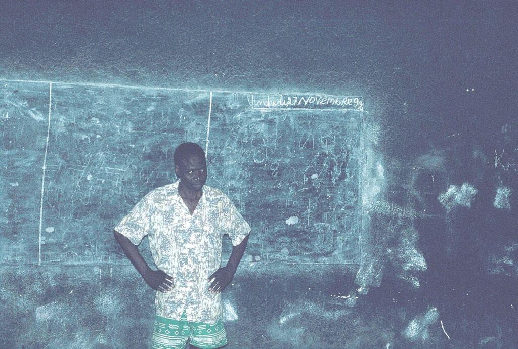 Sony Labou Tansi en répétition à Brazzaville, 1992.