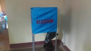 Voting booth ready for election day on Febrary 9, 2020 across Cameroon