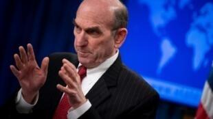 El representante especial de Estados Unidos para Venezuela, Elliott Abrams, habla en el Departamento de Estado sobre las nuevas sanciones de EEUU, el 18 de febrero de 2020 en Washington