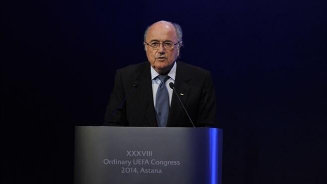 O presidente da FIFA, Joseph S. Blatter, discursou nesta quinta-feira (27) no 38° Congresso da UEFA, no Cazaquistão.